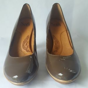 Sofft tan patent leather women's heel size us 7